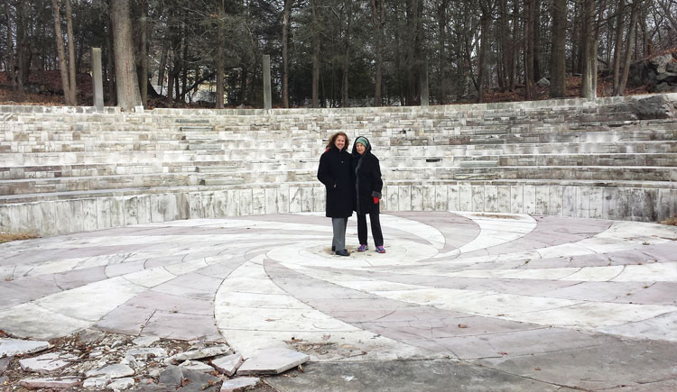 Josie Merck on the right, and Amy Wilfert, senior partner of the Day Pitney law firm in Greenwich assisting Merck with the legalities involved in the removal and relocation of the O'Neil amphitheater to Sarah Lawrence College. The stage is to be reused by the new Lia Fail property owners.  Photo credit: Greenwich Sentinel
