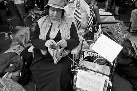 madame defarge-Swomley knits a pussy hat