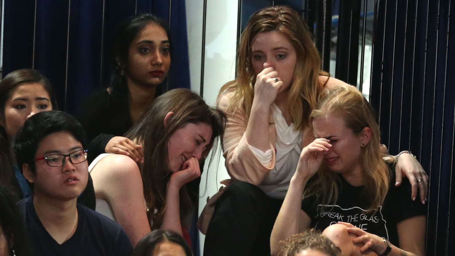 "Put down the slide rule and HELP somebody, for God's sake  (Okay, it's a photo that popped up when I Googled Images, ""crying Hillary supporters"", but close enough)"