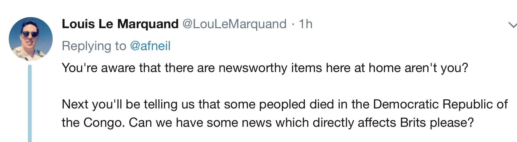 The chap (English? Frenchman living in England?0 seems a bit oblivious, and forgetful of similar attacks in britain, and even somewhat callous, but apparently this is the new PC position over there.