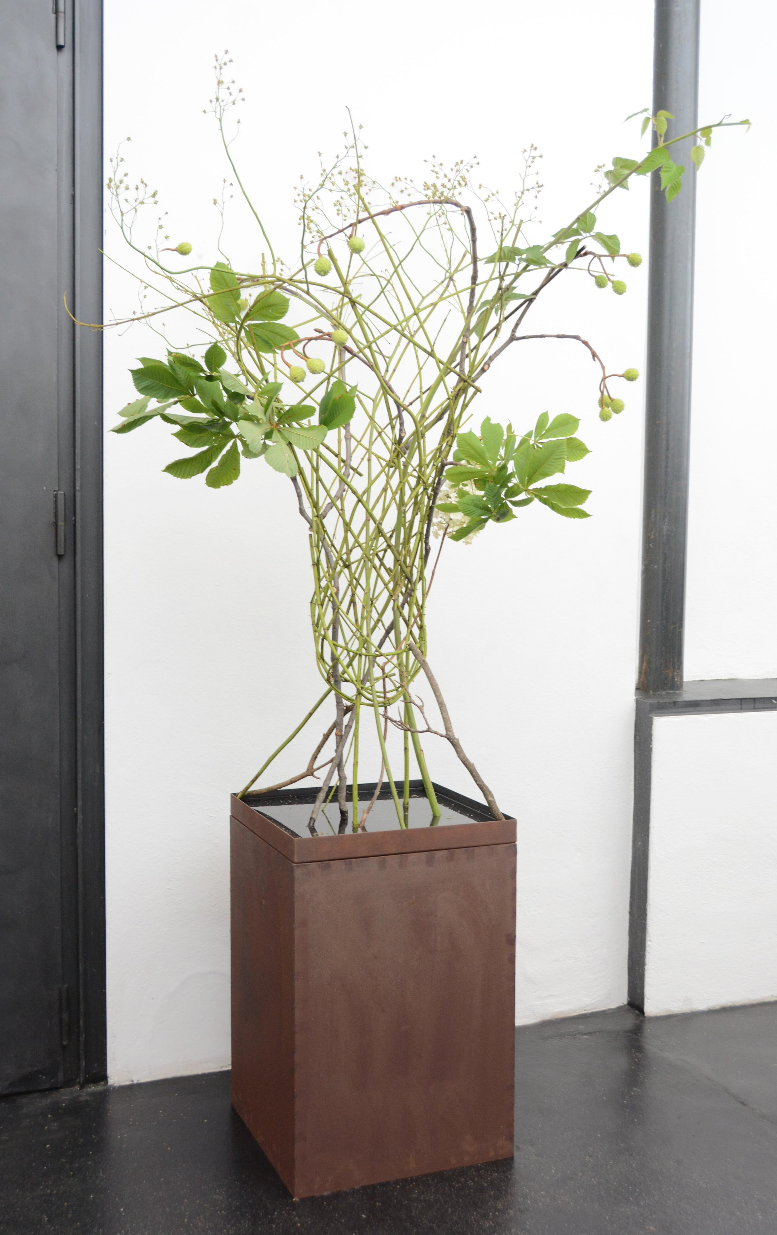 Auf filigranen Stelzen schwebten die Floralien im oberen Gestaltungsbereich, ein Balanceakt, der Carmen Müller wunderbar gelang.