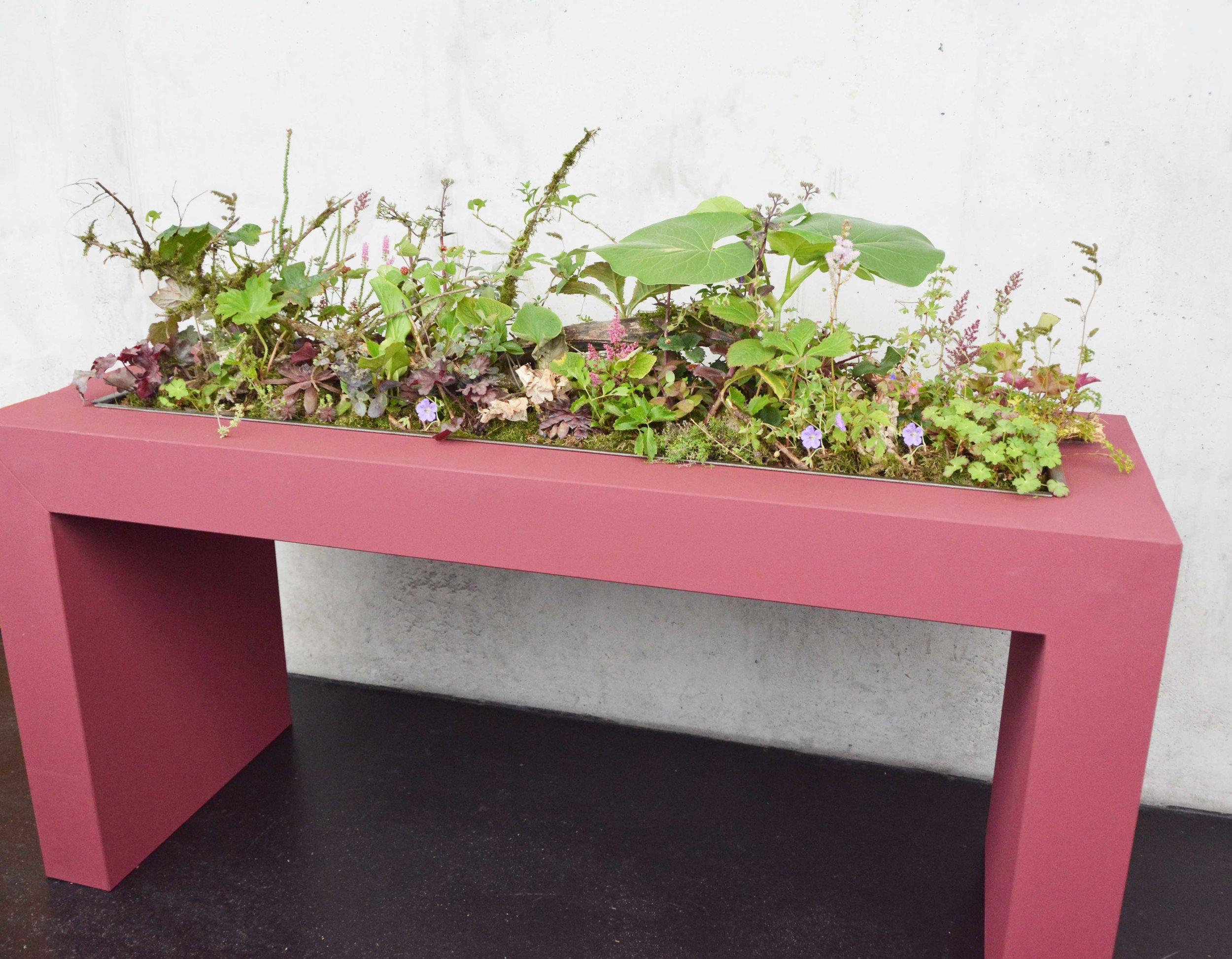 Die Horizontale des Tisches verknüpfte Lena Priller mit der Weite, welche eine Pflanzgestaltung aufweisen kann.