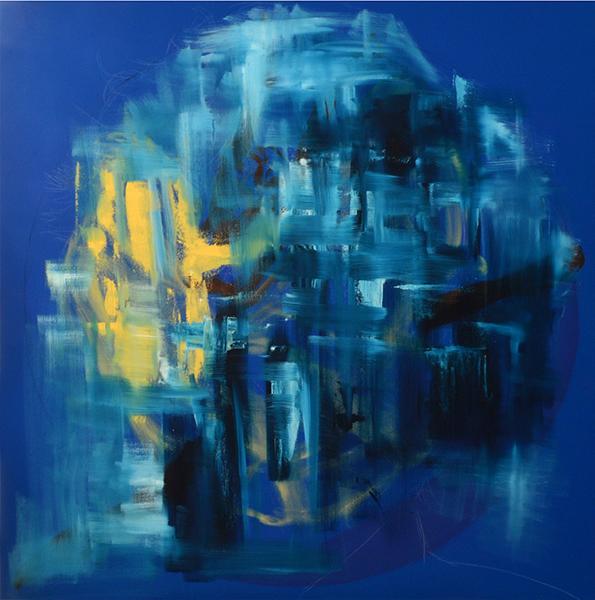 Alla Prima on Blue , 2016  oil on canvas  91 x 91 cm