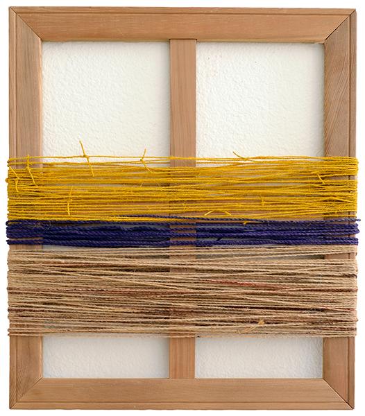 Boda B (Mustard) , 2016  pigments, yarn and wood  55 x 45 cm