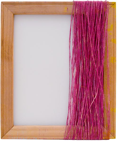 Boda B (Magenta) , 2016  pigments, yarn and wood  45 x 38 cm