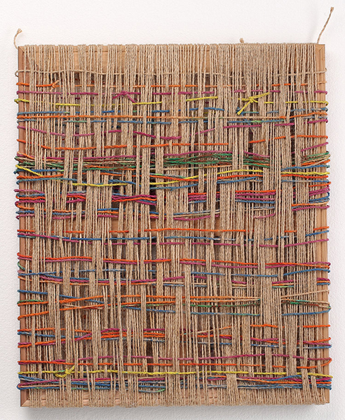 Boda (In-between) , 2014  pigments, yarn and wood  55 x 45 cm