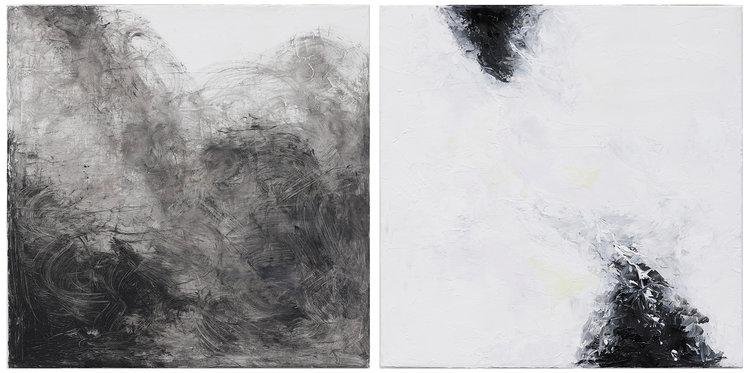 Between B&W , 2013  oil on canvas  38 x 38 cm (each)