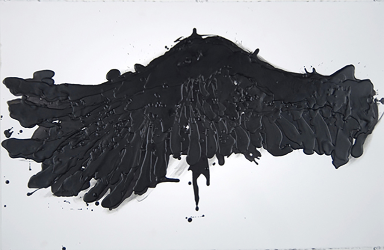 This, Untitled A , 2014  charcoal, pigments and wax on arches paper  66 x 101 cm