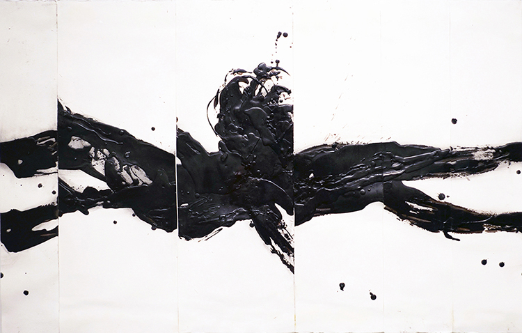 This, Untitled B , 2014  charcoal, pigments and wax on arches paper  66 x 101 cm