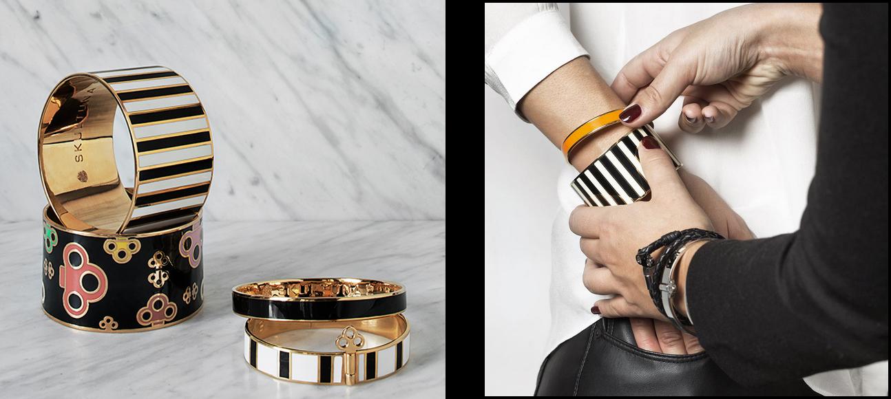 Key-, Plain- and Stripe enamel bangles