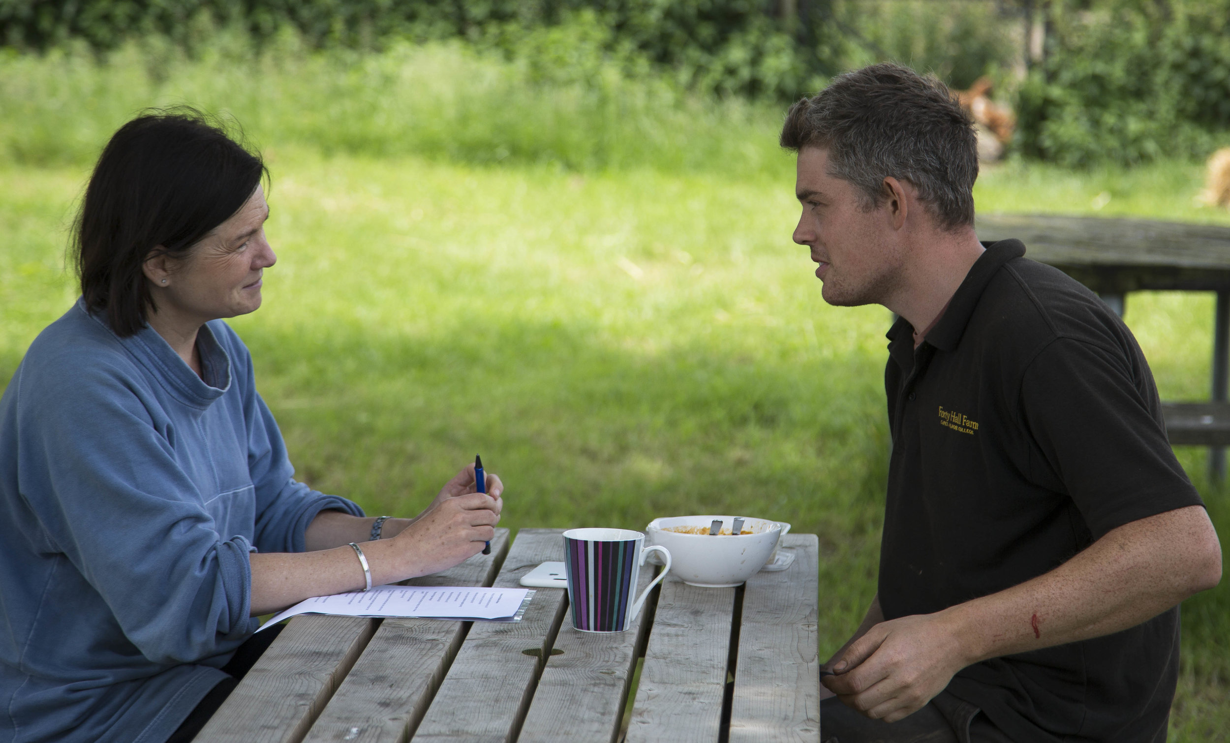 Photo: Dan Bone - Christine (left) and Matthew Robinson head grower at Forty Hall Farm.