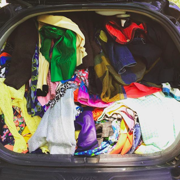 Kaylan's trunk packed to the MAX with vintage!