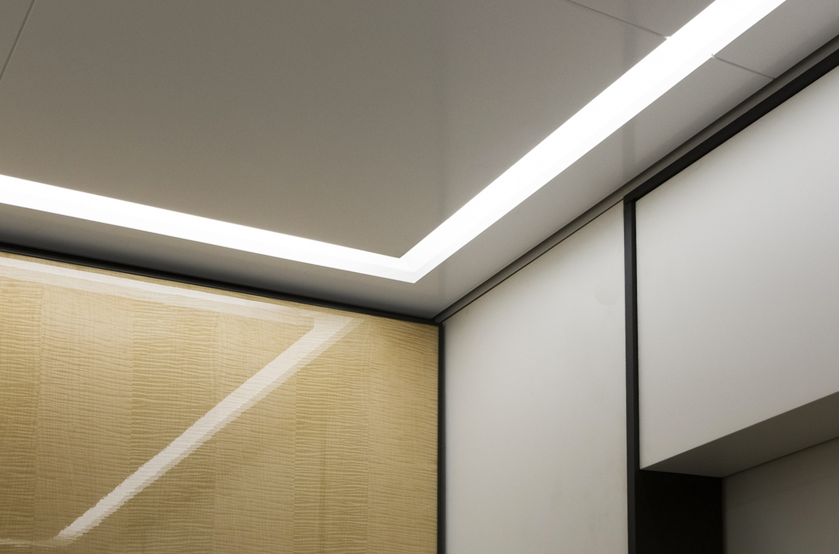 Elevecture's custom-made  Slim Strip - Halo® LED lights and milky white lenses effectuate a uniform spread of white light in our 90 Park Avenue cabs' interiors.   FULL PROJECT GALLERY - 90 PARK AVENUE