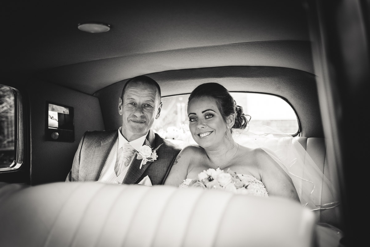 One of the first photos of the day: Sarah & Dad arriving at the church