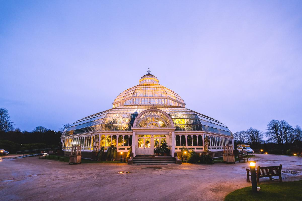The Palm House, Sefton Park, at dusk.