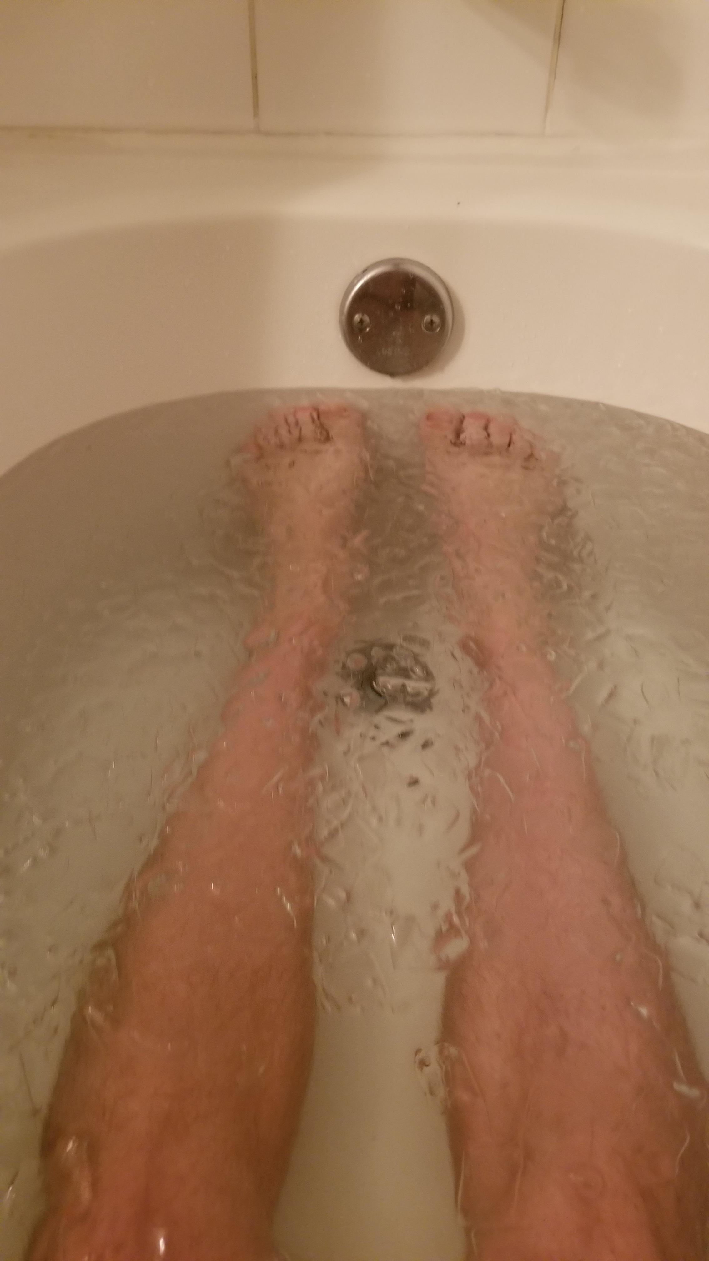 Post race ice bath.