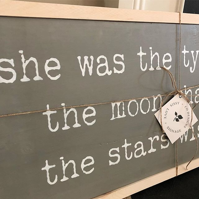 "A custom spin on our ""she was the type of girl the moon chased and the stars wished for"". The perfect welcome baby gift. #sissyandco #sissyandcodesigns #signs #wood #babygift #babygirl #nursery #custom #handcrafted #handmade #gift #shopfrederick #shoplocal #frederick #maryland #shopsmall"