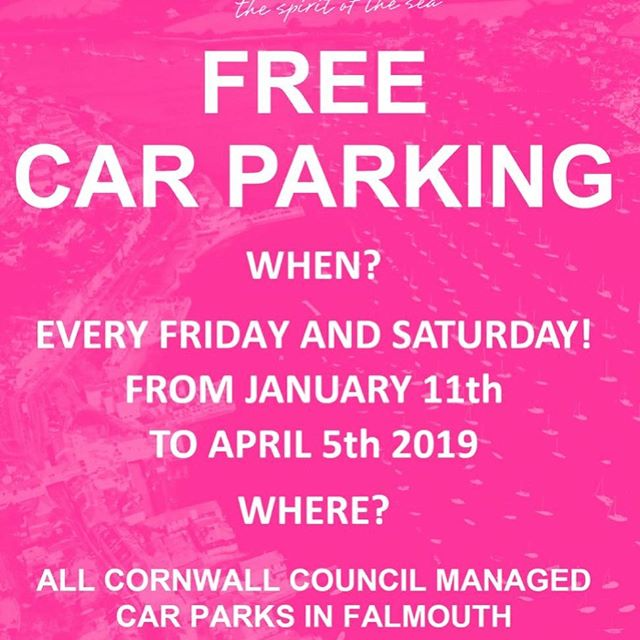 Free car parking in council run car parks today in falmouth so pop on down new stock arriving daily see you soon
