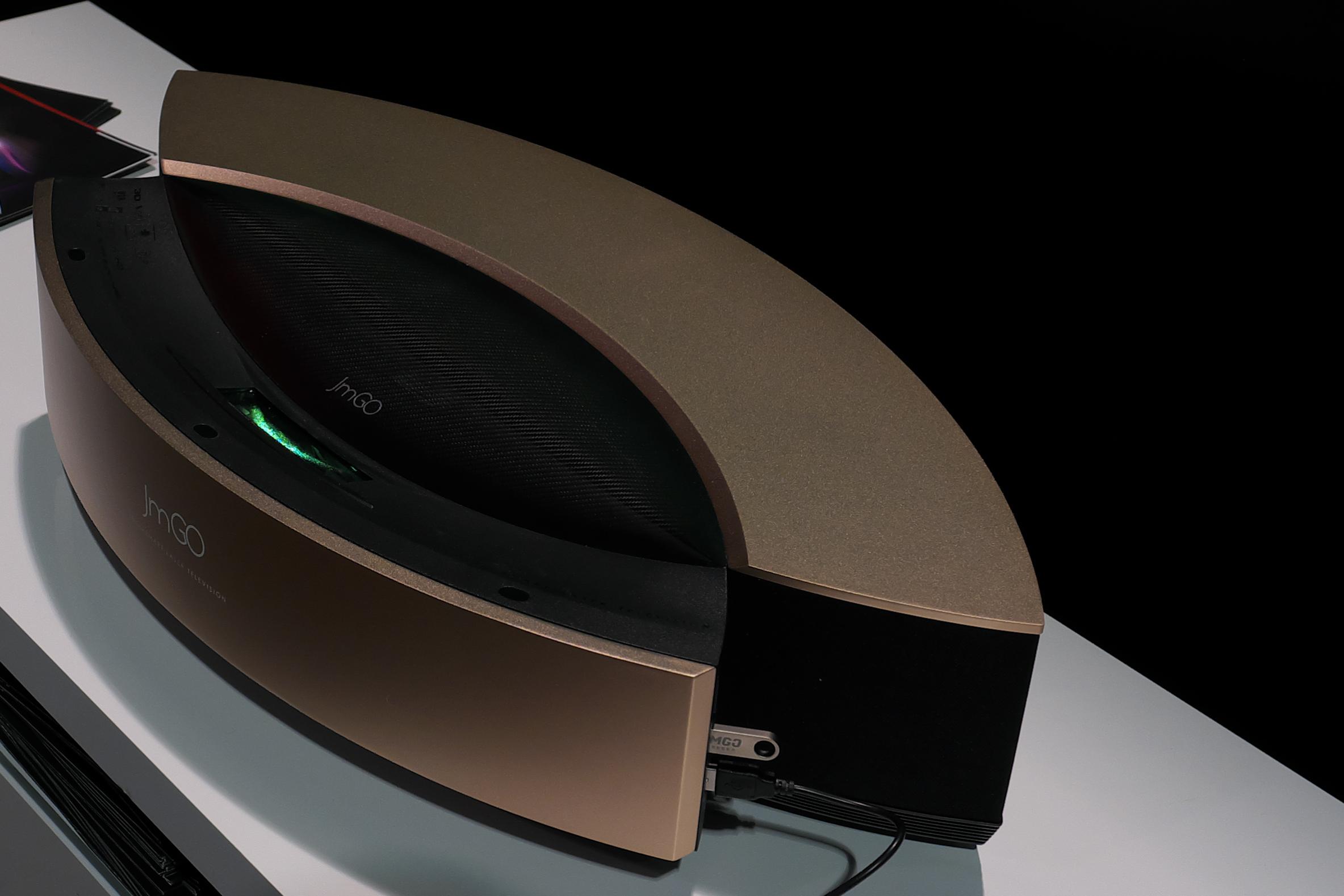 The JMGO S1 Pro's sleek design and beautiful rose gold finish