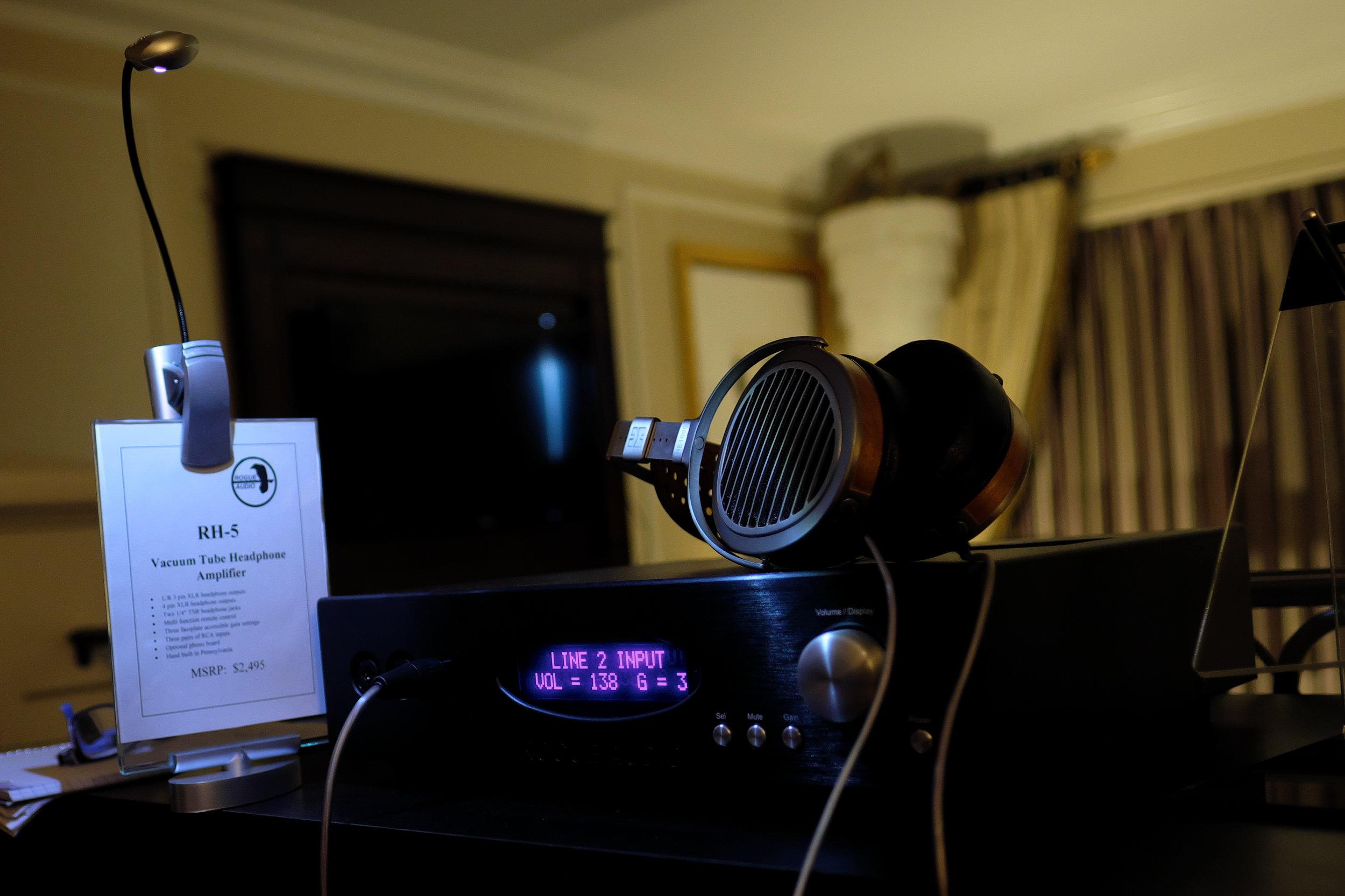HiFiMan HE1000 headphones hooked up to a Rogue Audio RH-5 headphone amp.