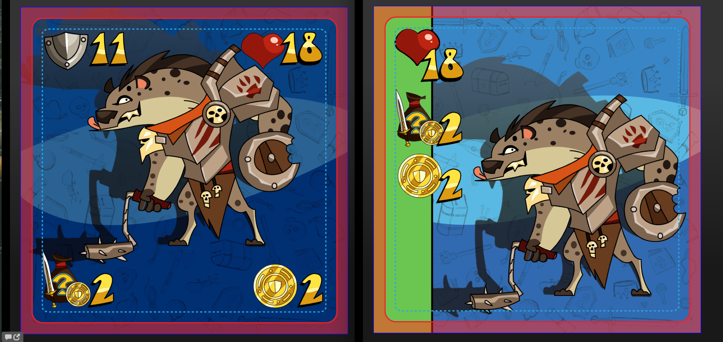 Removing the Armor Class Symbol and adding color was step one in simplifying our dungeon monster cards.
