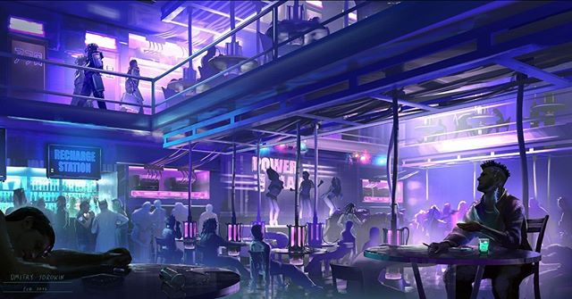 #CyberpunkConceptArt An awesome Cyberpunk bar scene concept art done by the talented Dmitry Sorokin.  Visit the link to view more of his incredible work! https://bit.ly/2E8ah8W  #rpg, #rp #cyberpunk #conceptart