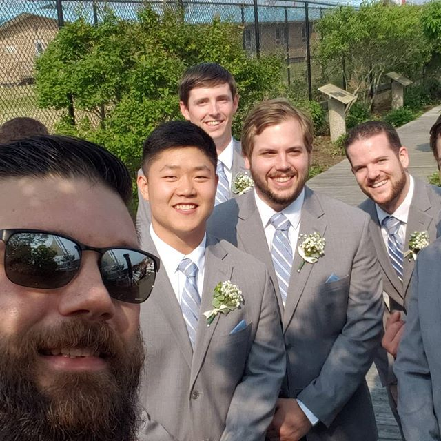 Hangin with the groom's posse!