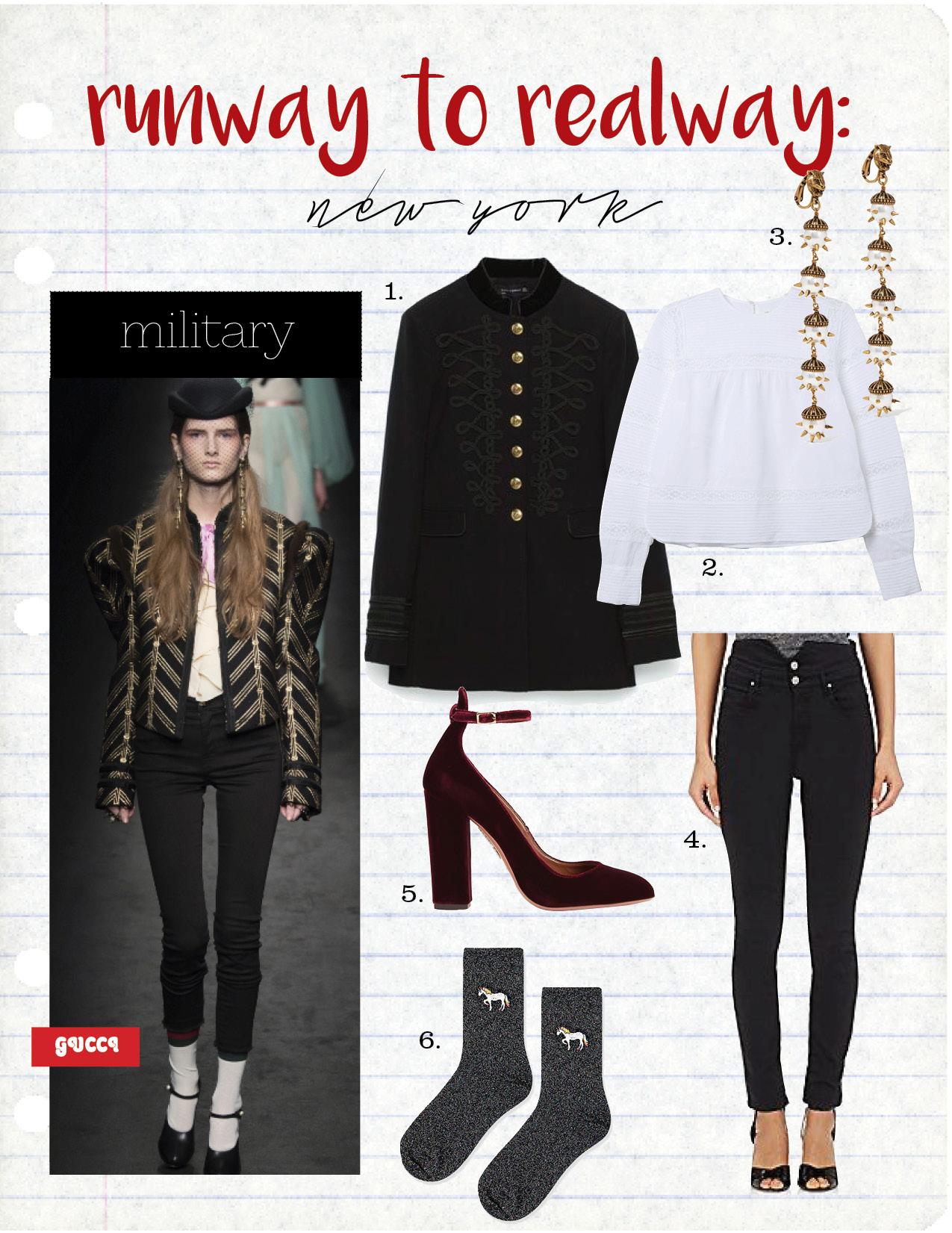 1. Zara Jacket, $169,  zara.com   2. Isabel Marant top, $355,  shopsuperstreet.com   3. Gucci earring, $820,  net-a-porter.com  4. Isabel Marant High-Waist Jean, $270,  Barneys.com  5. Aquazzura Velvet Pump, $725,  intermixonline.com  6. Top Shop Glitter Unicorn Socks, $6,  topshop.com