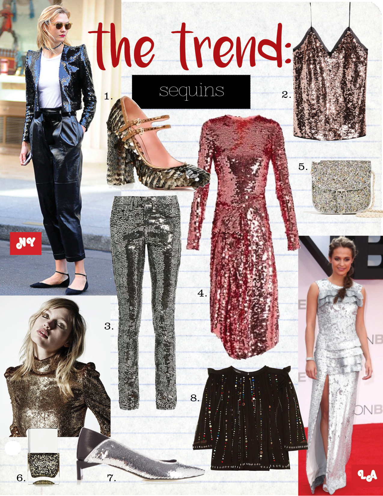 1. Rochas Mary Jane Heel, $790,  modaoperandi.com  2. H&M Sequined Camisole, $50,  hm.com   3. Saint Laurent Embellished Skinny Jean, $1094,  matchesfashion.com  4. Preen Asymmetric sequined tulle midi dress, $2635,  net-a-porter.com  5. Zara Crossbody Bag, $20,  z  ara.com  6. Nails Inc Alexa Sequin Polish, $15,  net-a-porter.com   7. Loewe Sequin slipper shoe, $712,  matchesfashion.com  8. Isabel Marant Galaxy-Embroidered Top, $1116,  matchesfashion.com