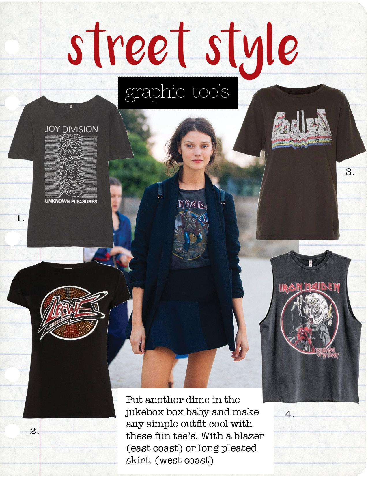 1. R13 Joy Division T-Shirt, $225,  Barneys.com  2. LOEWE LOGO PRINT T-SHIRT, $325,  matchesfashion.com  3. ISABEL MARANT éTOILE ENDLESS T-Shirt, $105,  matchesfashion.com  4. H&M IRON MAIDEN Tank TOp, $17,  hm.com
