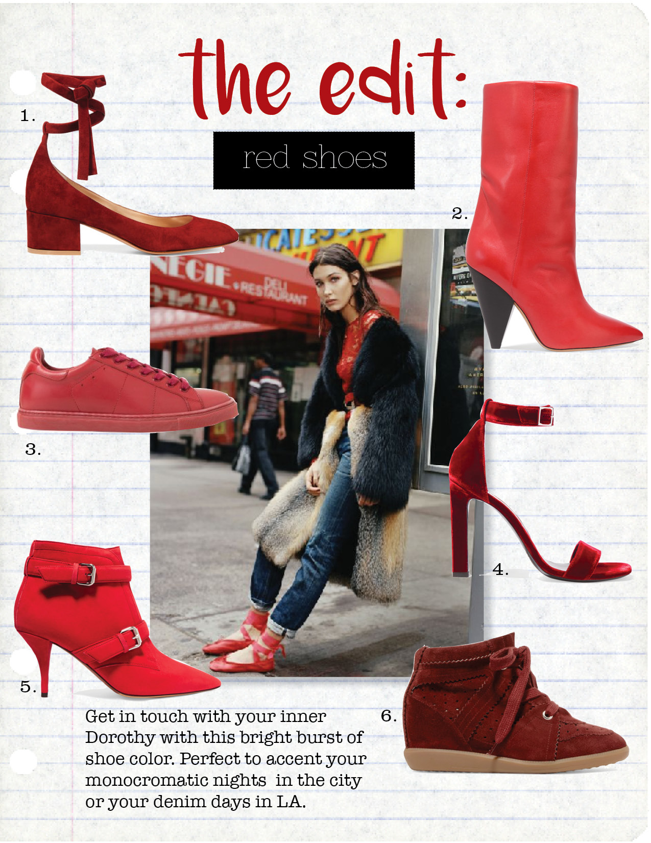 1. gianvito Rossi Suede SHOES, $825,  net-a-porter.com  2. Isabel Marant Leather Boots, $1075,  net-a-porter.com  3. IRO RED SNEAKERS, $400,  iroparis.com  4. Saint Laurent Ankle Strap Heels, $795,  barneys.com  5. Tabitha Simmons Suede Ankle Boot, $995,  net-a-porter.COM  6. ISABEL MARANT SUEDE WeDGE SNEAKERS, $540,  net-a-porter.com