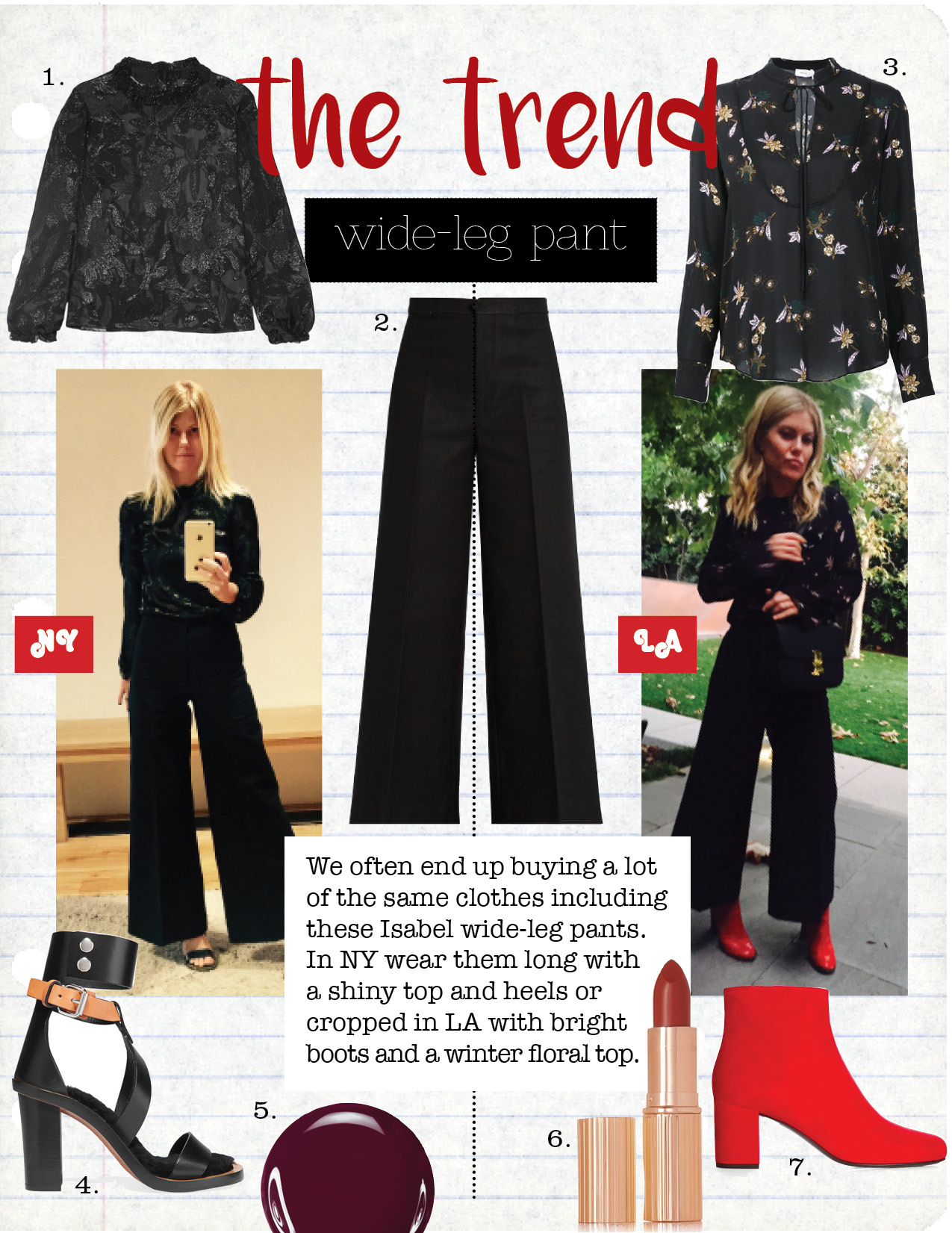 1. isabel Marant udell ruffle-trimmed fil coupe top, $366,  net-a-porter.com  2. isabel marant wide-leg cropped trousers, $336,  matchesfashion.com  3. a.l.c. annaleigh silk ruffle yoke top, $225,  lyst.com  4. isabel marant jenyd shearling-lined leather sandals, $483,  net-a-porter.com  5. tom ford nail lacquer - plum noir, $36,  tomford.com  6. charlotte tilbury k.i.s.s.i.n.g.lipstick - so marilyn, $32,  net-a-porter.com  7. saint laurent babies block-heel suede ankle boots, $845,  matchesfashion.com