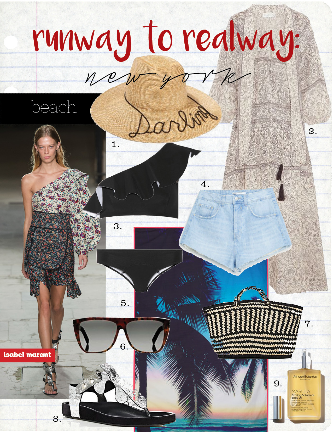 "1. eugenia kim emmanuelle crystal-emmished straw hat, $465,  net-a-porter.com  2. zimmerman caravan pussy-bow printed linen dress, $580,  net-a-porter.com  3. lisa marie fernandez arden one-shoulder bonded bikini, $395,  net-a-porter.com  4. zara high rise denim shorts, $29,  zara.com  5. samudra makaha printed cotton-poplin beach blanket, $63,  net-a-porter.com  6. saint laurent sl 1 sunglasses tortoiseshell, $360,  barneys.com  7. soeur vienne basket bag, $95,  barneys.com  8. isabel marant ""leakey"" metallic leather t-strap sandals, $505,  barneys.com  9. marula firming botanical body oil, $90,  violetgrey.com"