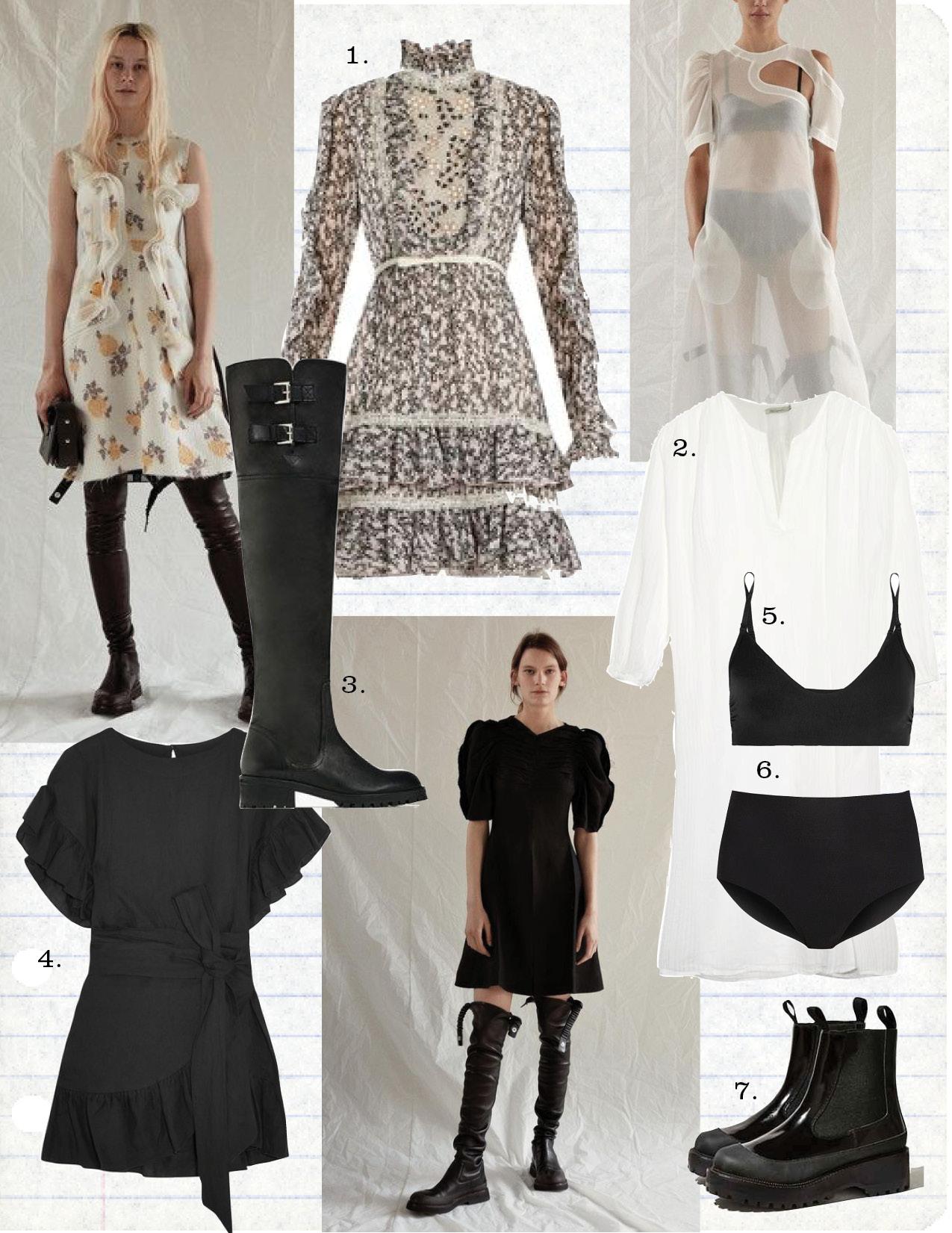 1. giambattista valli floral-print ruffles silk-georgette dress, $2028,  matchesfashion.com  2. mes demoiselles white cotton dress, $183,  matchesfashion.com  3. zara over-the-knee flat leather boots, $69,  zara.com  4. etoile isabel marant delicia ruffle mini dress, $430,  net-a-porter.com  5. commando black stretch bra, $60,  net-a-porter.com  6. commando high-rise stretch black briefs, $34,  net-a-porter.com  7. jeffrey cambell for Uo orbital chelsea boot, $165,  urbanoutfitters.com