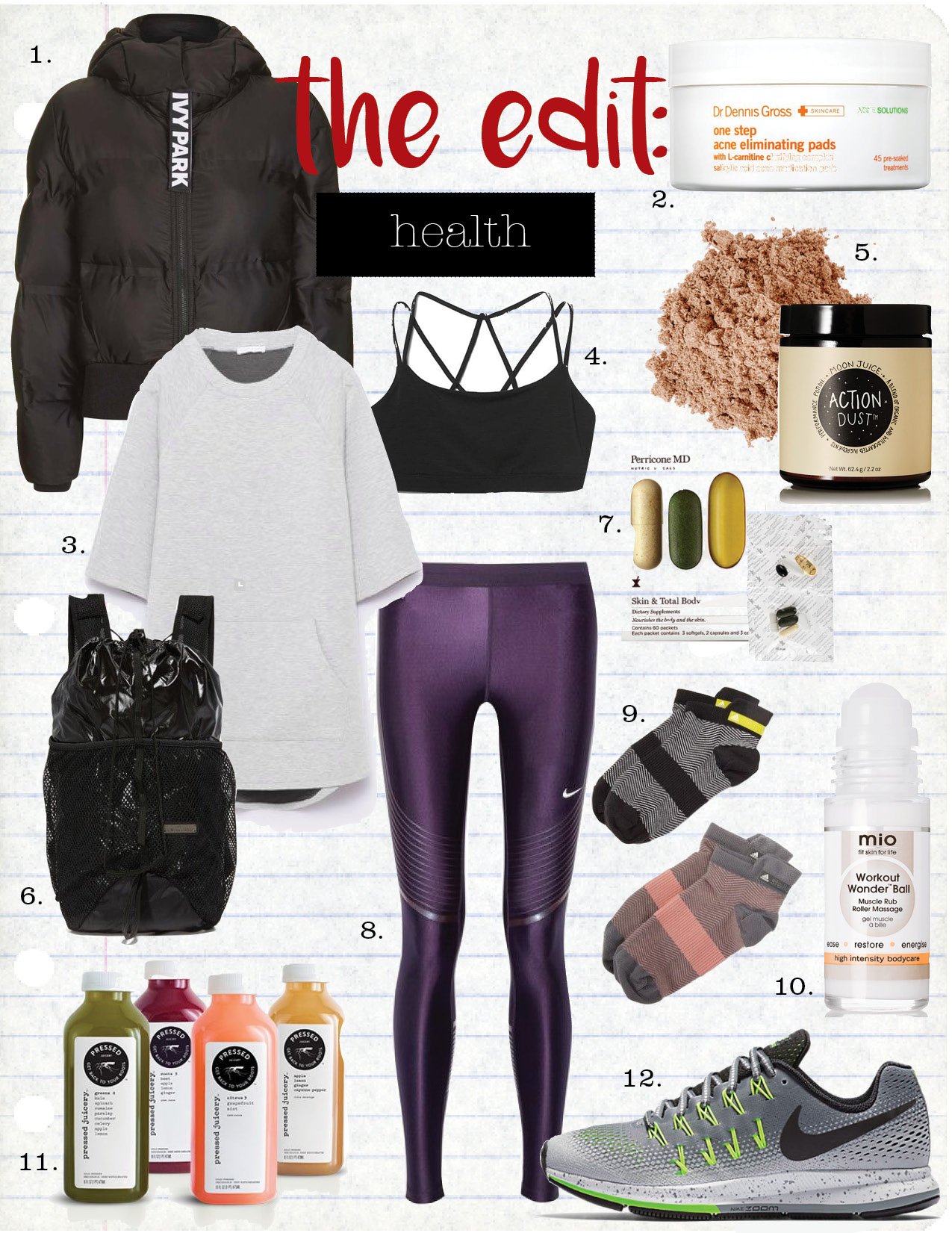 1. ivy park cropped hooded puffer, $190,  topshop.com  2. dr. gross one step acne eliminating pads, $38,  sephora.com  3. zara sweatshirt with pockets, $12,  zara.com  4. gap strappy sports bra, $19,  gap.com  5. moon juice action dust, $55,  net-a-porter.com  6. adidas by stella mccartney run backpack, $120,  shopbop.com  7. perricone md skin & total body dietary supplements, $155,  sephora.com  8. nike power speed stretch-jersey leggings, $150,  net-a-porter.com  9. adidas by stella mccartney herringbone socks, $28,  shopbop.com  10. mio skincare workout wonder ball, $40,  net-a-porter.com  11. pressed juicery 3-day cleanse, $99,  pressedjuicery.com  12. nike air zoom pegasus 33 shield, $125,  nike.com