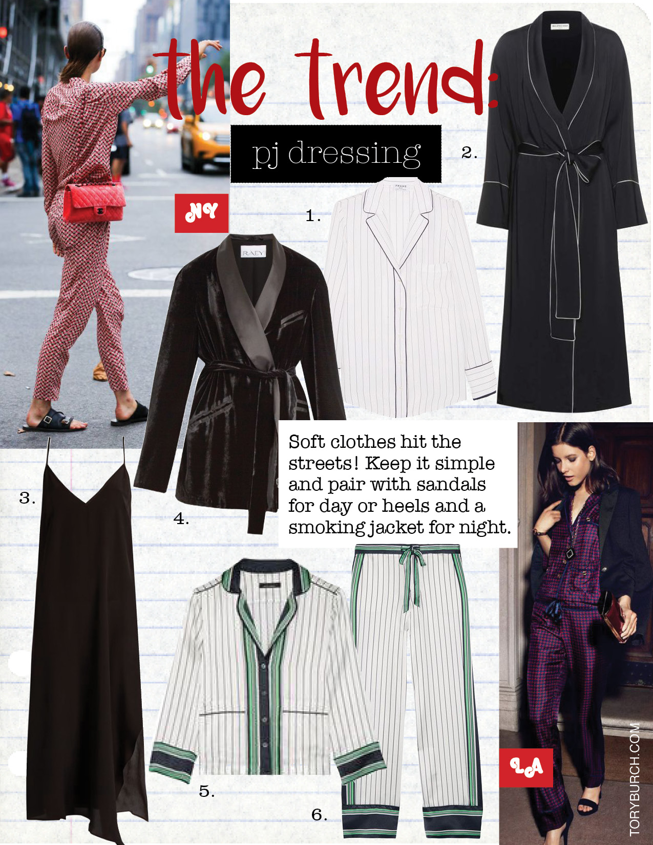 1. frame striped silk shirt, $275,  net-a-porter.com  2. balenciaga satin robe, $2050,  mytheresa.com  3. raey asymmetric-hem silk slip dress, $225,  Matchesfashion.com  4. raey velvet smoking jacket, $743,  matchesfashion.com  5. kate moss for equipment lake striped silk-satin pajama shirt, $275,  net-a-porter.com  6. kate moss for equipment lake striped silk-satin pajama pants, $295,  net-a-porter.com