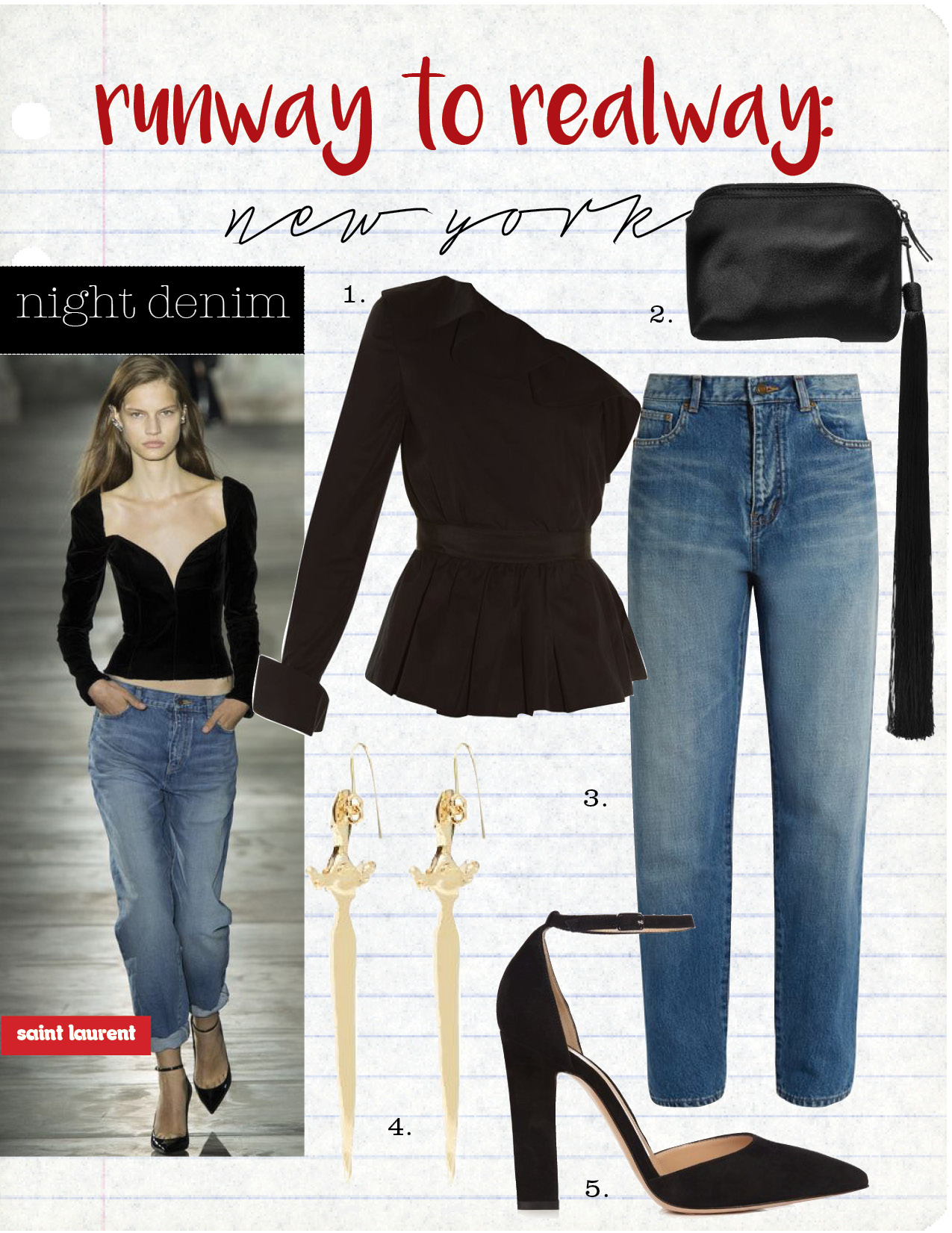 1. fendi one-shoulder peplum-hem cotton top, $1090,  matchesfashion.com  2. the row wristlet mini tasseled satin clutch, $1090,  net-a-porter.com  3. saint laurent low-slung boyfriend jeans, $525,  matchesfashion.com  4. valentino sword-drop earrings, $437,  matchesfashion.com  5. gianvito rossi mila point-toe suede pumps, $704,  matchesfashion.com