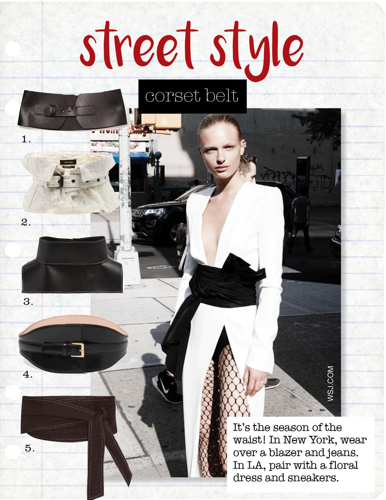 1. zara black corset, $25,  zara.com  2. isabel marant erika wrapped cotton waist belt, $281,  matchesfashion.com  3. loewe obi leather belt, $718,  matchesfashion.com  4. alexander mcqueen leather waist belt, $945,  net-a-porter.com  5. cecilie copenhagen wrap belt, $71,  matchesfashion.com