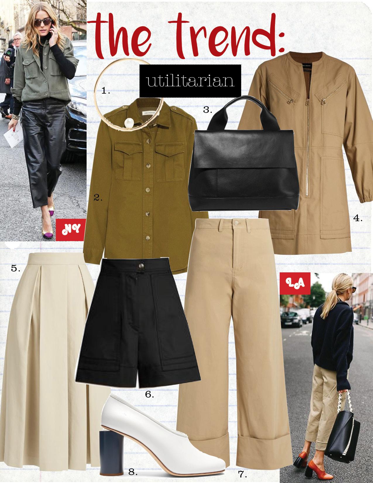 1. anissa kermiche pearl&yellow-gold earring, $617,  matchesfashion.com  2. etoile isabel marant obrian cotton-twill shirt, $355,  net-a-porter.com  3. marni halo pod leather tote, $2240,  net-a-porter.com  4. isabel marant telka cotton dress, $845,  matchesfashion.com  5. the row kanu ultra-soft cotton pleated midi skirt, $2690,  matchesfashion.com  6. isabel marant trey high-waisted cotton shorts, $380,  matchesfashion.com  7. sea mid-rise wide-leg cropped trousers, $366,  matchesfashion.com  8. acne studios amy leather pumps, $540,  matchesfashion.com