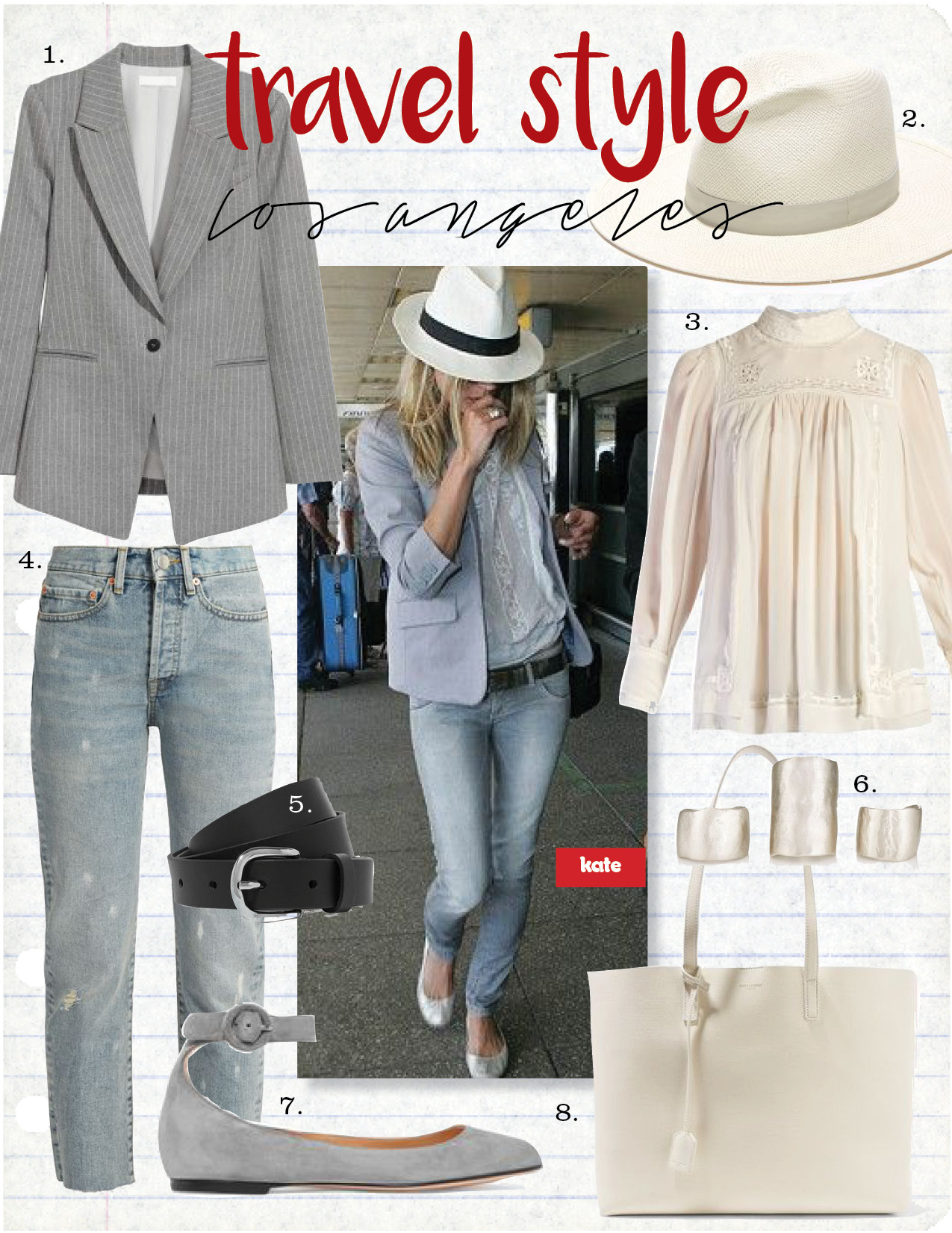 1. h&m long jacket, $49,  hm.com  2. janessa leone aisley straw hat, $250,  janessaleone.com  3. isabel marant maeva embroidered silk blouse, $731,  matchesfashion.com  4. raey unisex raw-hem jeans, $201,  matchesfashion.com  5. etoile isabel marant zap leather belt, $115,  net-a-porter.com  6. simon miller x rebecca pinto ogee ring set, $470,  barneys.com  7. gianvito rossi suede ballet flats, $695,  net-a-porter.com  8. saint laurent shopping large textured-leather tote, $995,  net-a-porter.com