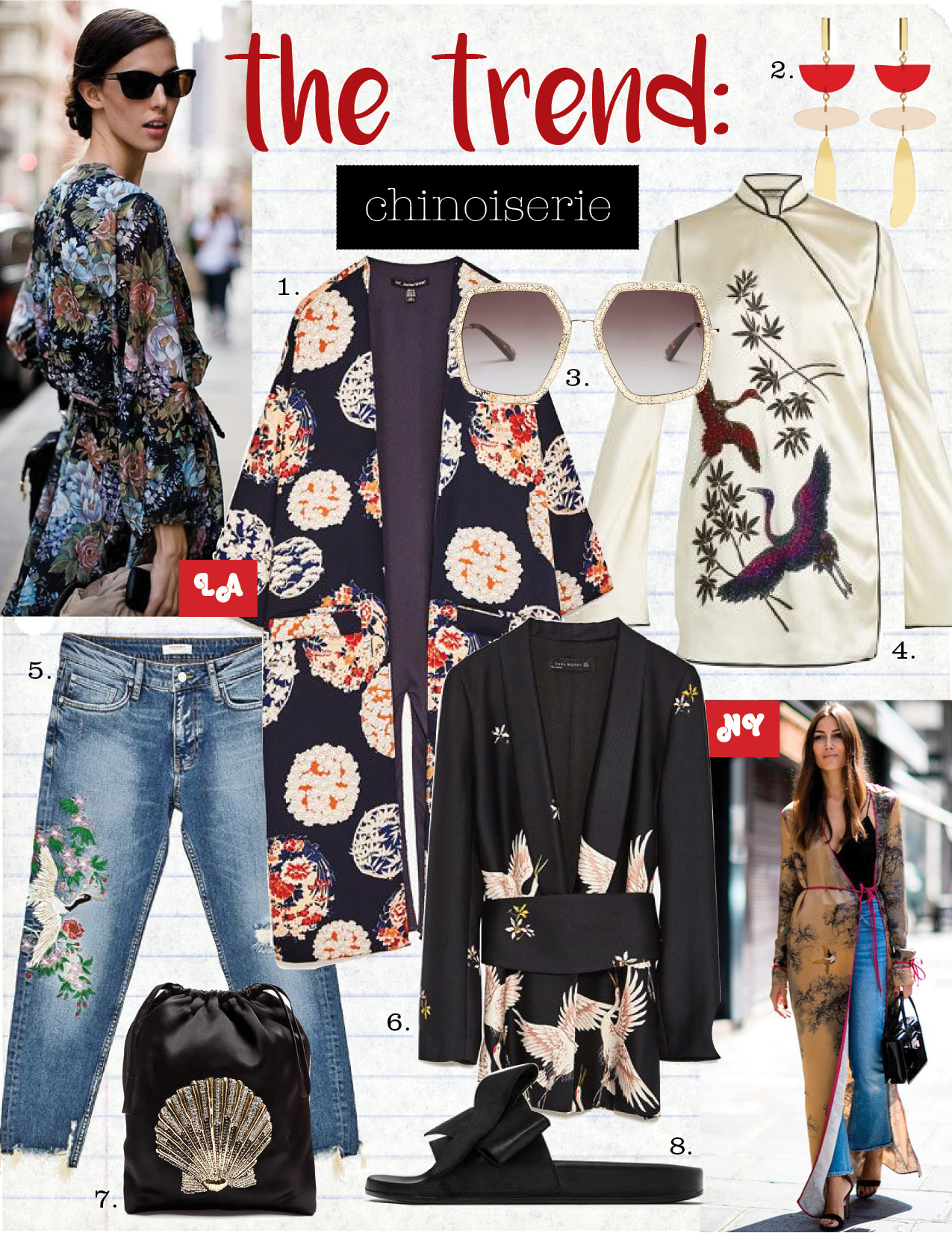1. zara printed kimono jacket, $69,  zara.com  2. isabel Marant other potatoes drop earrings, $245,  matchesfashion.com  3. gucci oversized hexagon-frame sunglasses, $260,  matchesfashion.com  4. attico elena heron-embellished satin kimono dress, $1769,  matchesfashion.com  5. zara mid-rise boyfriend jean, $69,  zara.com  6. zara printed jacket with sash belt, $149,  zara.com  7. attico sofia seashell-embroidered satin pouch, $392,  matchesfashion.com  8. zara satin bow slides, $39,  zara.com