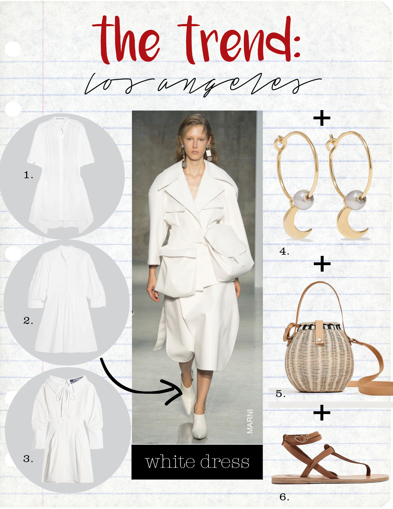 1. stella maccartney cotton-poploin dress, $765,  net-a-porter.com  2. chloe pleated cotton-poplin dress, $1495,  net-a-porter.com  3. jacquemus pintucked cotton mini dress, $525,  net-a-porter.com  4. iam by ileana makri satelite moon gold-plated pearl earrings, $270,  net-a-porter.com  5. zara raffia bucket bag, $59,  zara.com  6. ancient greek sandals estia leather sandals, $225,  net-a-porter.com