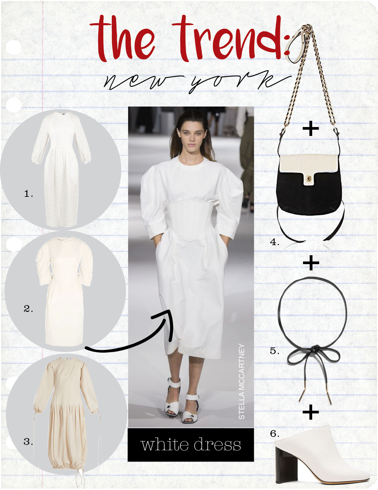 1. simone rocha broderie-anglaise draped-back dress, $1388,  matchesfashion.com  2. stella maccartney paneled poplin dress, $1245,  net-a-porter.com  3. loewe drawstring cuffs and hem midi dress, $2093,  matchesfashion.com  4. maison mayle andalou shoulder bag, $595,  barneys.com  5. and other stories leather tie necklace, $25,  stories.com  6. maison margiela leather mules, $890,  fwrd.com