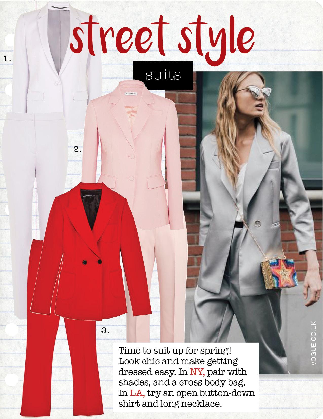 1. topshop tailored suit jacket, $125,  topshop.com  topshop tailored suit cigarette trousers, $68,  topshop.com  2. altuzarra pique blazer, $1695,  net-a-porter.com  altuzarra cropped trousers, $641,  matchesfashion.com  3. zara tailored jacket with buttons, $169,  zara.com  zara cropped straight-cut trousers, $69,  zara.com
