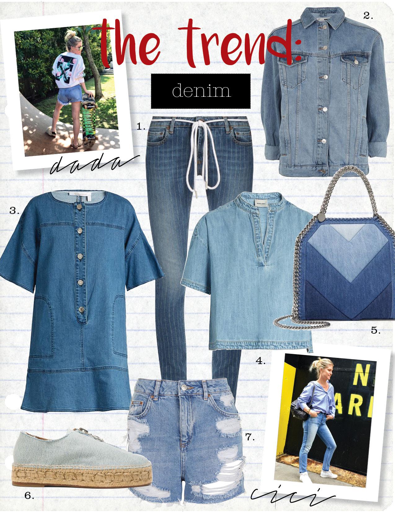 1. off-white pinstriped skinny jeans, $425,  matchesfashion.com  2. topshop moto oversized denim jacket, $90,  topshop.com  3. see by chloe button-front denim dress, $285,  matchesfashion.com  4. rachel comey gabe mandarin-collar denim top, $180,  matchesfashion.com  5. stella mccartney falabella paneled denim shoulder bag, $1085,  net-a-porter.com  6. alexander wang denim devon espadrilles, $350,  fwrd.com  7. topshop moto high waisted rip mom short, $60,  topshop.com