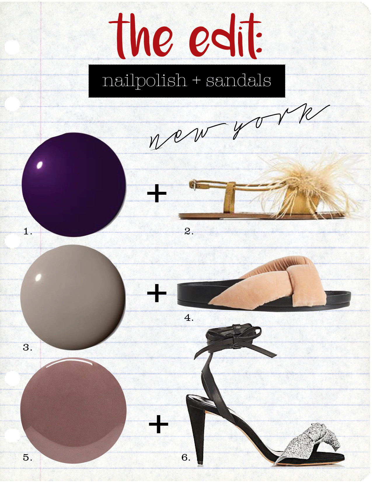 1. chanel le vernis longwear nail color in roubachka, $28,  violetgrey.com  2. zara flat sandals with feathers, $49,  zara.com  3. chanel le vernis longwear nail colour in garconne, $28,  violetgrey.com  4. chloe nolan velvet slides, $555,  matchesfashion.com  5. tom ford beauty nail polish in black sugar, $35,  net-a-porter.com  6. isabel marant akynn suede & leather sandals, $620,  barneys.com
