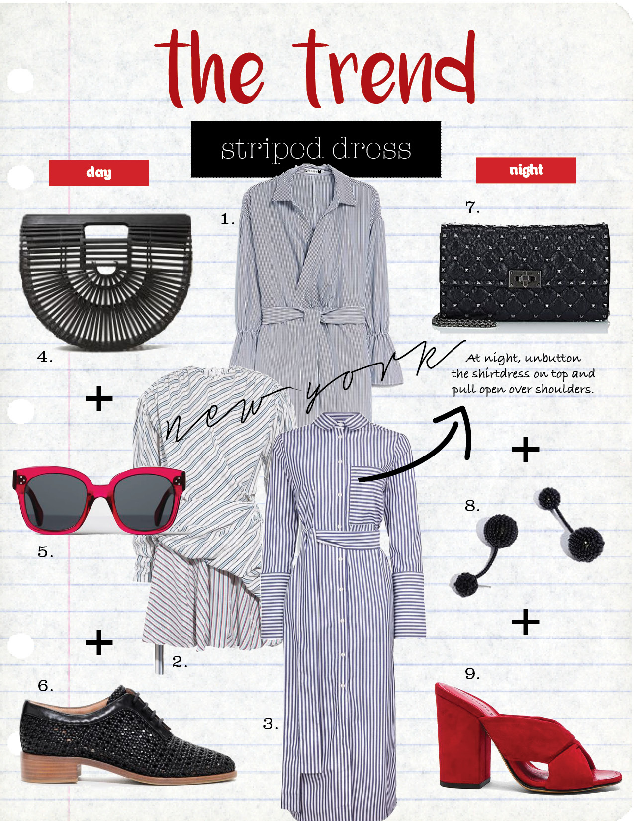 1. farrow striped wrap dress in black, $62,  needsupply.com  2. balenciaga gathered wrap-effect striped jacquard mini dress, $1995,  net-a-porter.com  3. topshop stripe shirt dress by boutique, $140,  topshop.com  4. cult gaia small gaia's ark in black, $112,  needsupply.com  5. celine new audrey sunglasses, $300,  celine.com  6. and other stories leather braided mens dressed shoes, $155,  stories.com  7. valentino rockstud spike shoulder bag, $1545,  barneys.com  8. madewell beaded party earrings, $28,  madewell.com  9. alumnae soft x-slide block suede heel sandals, $525,  fwrd.com