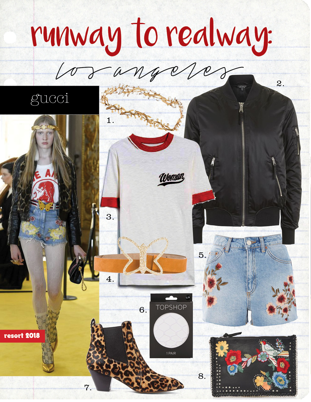 1. lelet ny gold-plated, swarovski crystal and faux pearl headband, $800,  net-a-porter.com  2. topshop ma1 bomber jacket, $75,  topshop.com  3. off-white thanks ripped tee, $226,  needsupply.com  4. see by chloe butterfly buckle belt, $228,  farfetch.com  5. topshop moto blossom embroidered mom jeans, $65,  topshop.com  6. topshop supersize fishnets tights, $12,  topshop.com  7. marc jacobs kim leopard-print calf hair chelsea boots, $225,  net-a-porter.com  8. topshop leather embroidered cross body bag, $70,  topshop.com