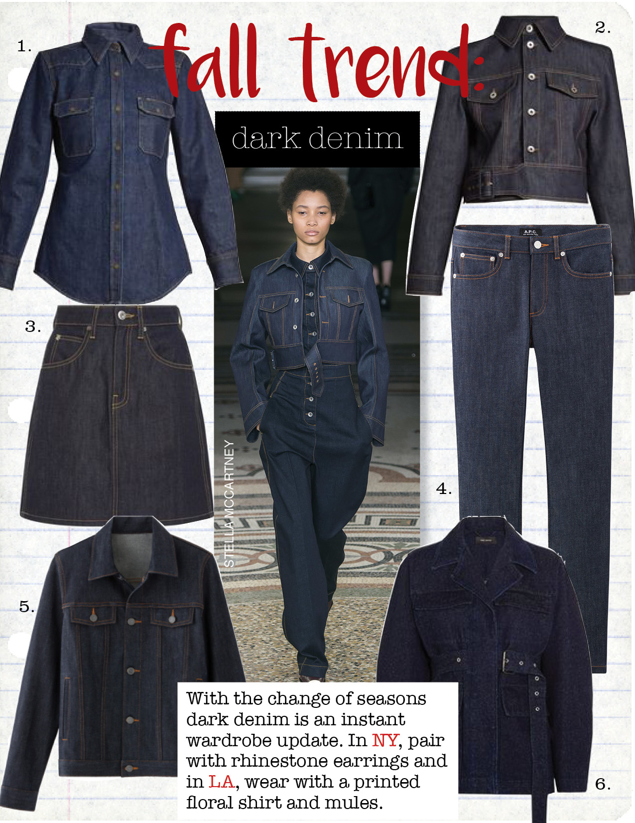 1. calvin klein 205w39nyc western-yoke denim shirt, $422,  matchesfashion.com  2. stella maccartney angelica point-collar cropped denim jacket, $1502,  matchesfashion.com  3. eve denim scout denim mini skirt, $225,  modaoperandi.com  4. a.p.c. denim high standard jeans, $210,  usonline.apc.fr  5. a.p.c. denim brandy jacket, $270,  usonline.apc.fr  6. isabel marant pleyel belted denim jacket, $755,  net-a-porter.com