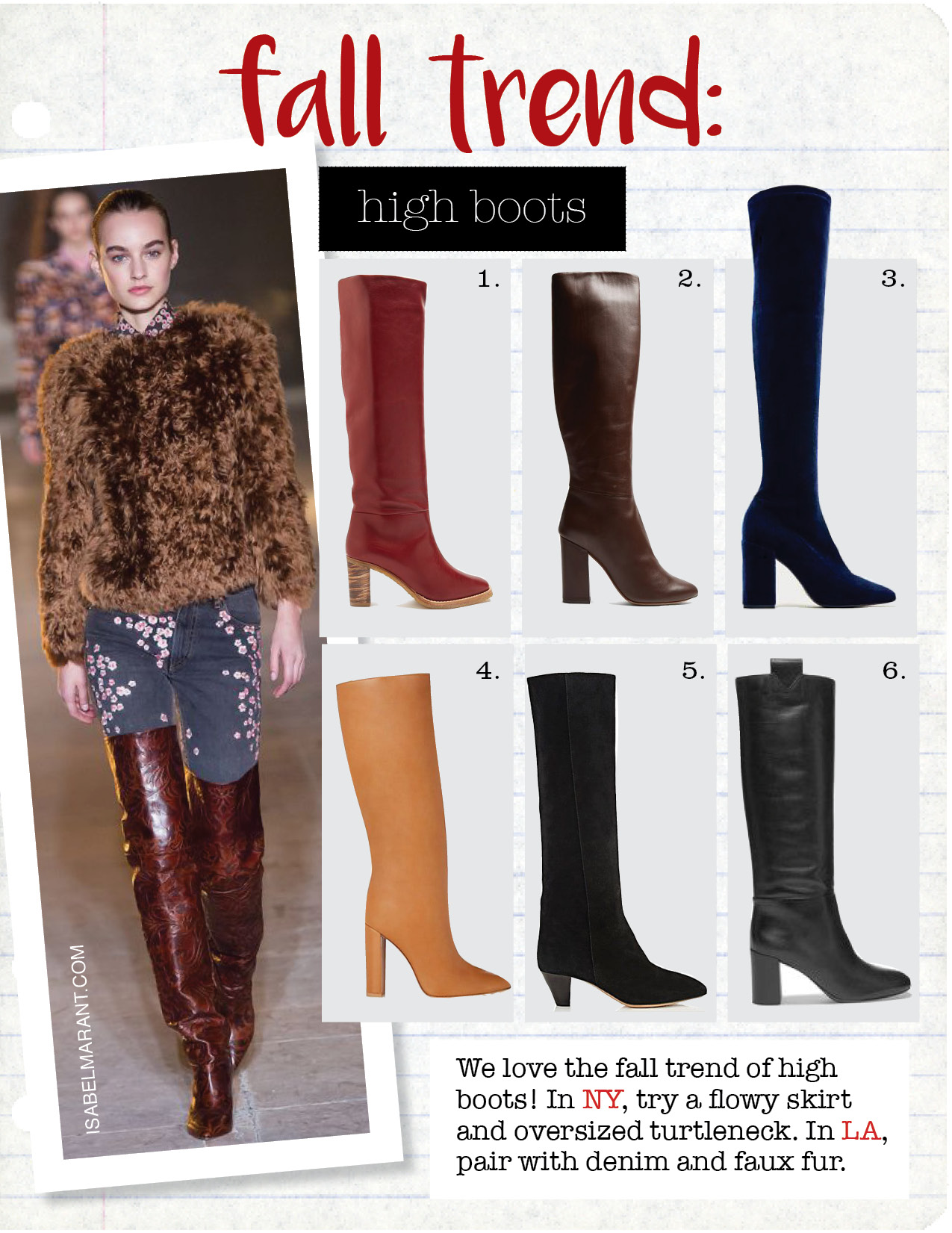 1. gabriela hearst marlene leather knee-high boots, $1154,  matchesfashion.com  2. tabitha simmons sophie knee-high leather boots, $961,  Matchesfashion.com  3. zara velvet over th eknee high heel boots, $69,  zara.com  4. gianvito rossi leather knee boots, $1625,  barneys.com  5. isabel marant robby knee boots, $640,  barneys.com  6. mercedes castillo emmett leather knee boots, $850,  net-a-porter.com